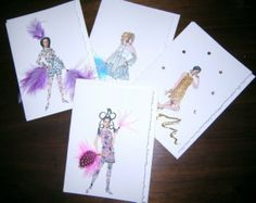 Fashion illustration Simply Mod note cards the by claudiacreates, $25.00