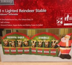 Giant Santa Reindeer North Pole Le Christmas Airn Inflatable Yard Decor