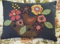 Bird in Blooms on Houndstooth Pillow Slipcover by rustiquecat