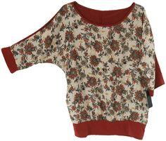 Camisa de manga francesa, estampada con flores en fondo tostado,