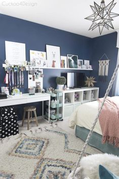 kids crafting and coloring storage solution in a dark blue girls bedroom with mo. - kids crafting and coloring storage solution in a dark blue girls bedroom with moroccan shag rug and moravian star pendant - Blue Teen Girl Bedroom, Blue Girls Rooms, Teenage Girl Bedrooms, Preteen Bedroom, Teen Bedroom Colors, Blue Bedroom Ideas For Girls, Teen Girl Decor, Dark Blue Bedrooms, Blue Bedroom Decor