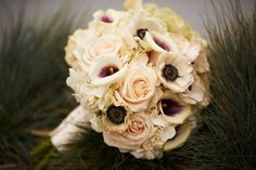 Ivory and blush bouquet with delicate anemones. Philip Gabriel Photography