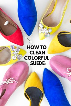 How To Clean Colorful Suede Shoes (+ Our 15 Favorite Pairs! Clean Suede Boots, How To Clean Suede, Clean Shoes, Pink Suede Shoes, Suede Flats, Leather Shoes, Diy Cleaning Products, Cleaning Hacks, Cleaning Solutions