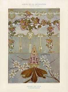 Calavas Art Nouveau Folio Album de la Decoration c1900 - Great resource for vintage botanical, animal, oriental, fashion prints