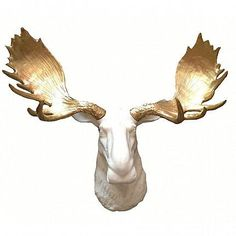 Add this modern Golden Moose wall mount to complement any room or fireplace. We have seen this piece used as a place to hang jewelry as well