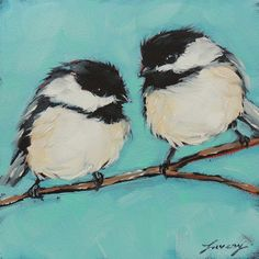 Chickadee bird paintings 5x5 original oil painting of by LaveryART