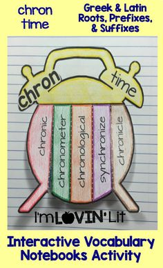 Chron - Time; Greek and Latin Roots, Prefixes and Suffixes Foldables; Greek and Latin Roots Interactive Notebook Activity by Lovin' Lit
