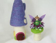 Spring craft - Needle Felt Mushroom Fairy House - Waldorf Spring Easter Nursery Children's Decor.