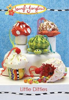 """Make four different character drawstring bags, a crab, a turtle, a toad stool, or a cupcake. Bags are approximately 6"""" in height. They are drawstring bags that can hold jewelry, supplies, or gifts."""