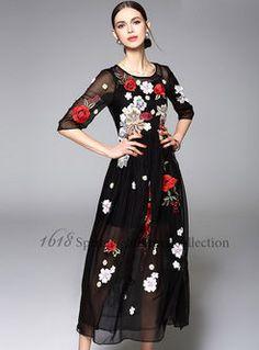 O-Neck Mesh Embroidery Maxi Dress