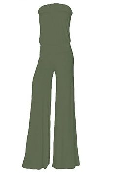 """Womens Fashion Strapless Wide Leg Smocked Tube Casual Jumpsuit USA OL XL. Made in USA. A super-soft knit jumpsuit detailed with a strapless smocked neckline and waistline makes a great casual piece for the weekend or as a coverup. The smocking provides easy pull-on wearability. This jumpsuit is unlined. Length:51"""", Bust:26"""", Inseam: 30.5"""" Measurements taken from size Small. Length:55"""", Bust:30"""", Inseam: 30.5"""" Measurements taken from size Small. Model is wearing size Small • Model's Profile…"""