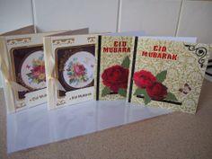 EID MUBARAK CARDS, FOR MUSLIMS EID GREETINGS, PACK OF 4 CARDS & 4 ENVELOPES