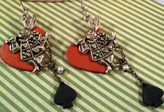 Alice in wonderland, fun, whimsical danlge earrings.by RockinRobinsBling, $9.00