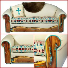 Turquoise inlaid mesquite, butter soft leather and Pendleton cushions - love it! RusticArtistry.com