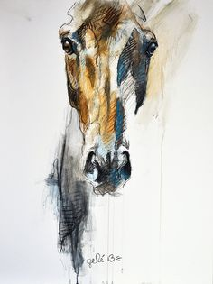 Alert VIII Original Horse Pastels and Black by benedictegele.