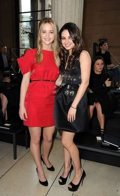 Mila Kunis: Miu Miu Show with Jennifer Lawrence!: Photo Mila Kunis, Jennifer Lawrence, and Hailee Steinfeld all look picture perfect at the Miu Miu Ready to Wear fashion show during Paris Fashion Week on Wednesday (March… Girl Celebrities, Beautiful Celebrities, Beautiful Actresses, Beautiful People, Celebs, Beautiful Ladies, Simply Beautiful, Jennifer Lawrence, Fashion Week