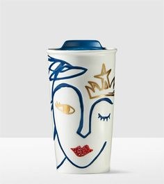 A ceramic traveler adorned with the trademark Starbucks® Siren and embellished with Swarovski® crystals. Part of the Starbucks® Anniversary Collect Starbucks Coffee Tumbler, Starbucks Drinkware, Starbucks Siren, Crystal Lips, Espresso Drinks, Cup Art, Coffee Is Life, Coffee Lovers, Ideas Geniales