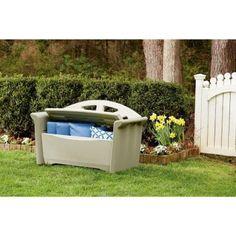 Resin Patio Storage Bench, Brown/Biege