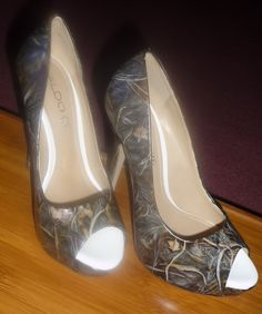 custom order, hand painted, hunting camouflage theme, heels or flats. $245.00, via Etsy.