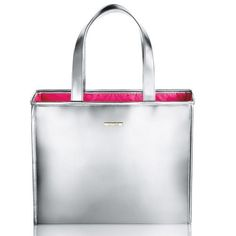 """Clinique Silver Holiday Tote Bag by Clinique. $14.50. ~Tote Dimensions:  15"""" x 12"""" 3"""" ~ Pink Lining Inside Clinique Silver Holiday Tote. ~Tote Dimensions:  15"""" x 12"""" 3"""" ~ Pink Lining Inside Clinique Silver Holiday Tote"""