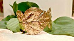 LEAF CUFF BRACELET, Bougainvillea leaf brass bracelet