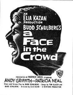 """Are you tagging along with my watch list? If so, what movie should be next? Today's movie is """"A Face In The Crowd"""" starring Andy Griffith, Patricia Neal and Walter Matthau! Hd Movies Online, Martin Scorsese, Stanley Kubrick, Alfred Hitchcock, Movie Db, Patricia Neal, Walter Matthau, Elia Kazan, Knives"""