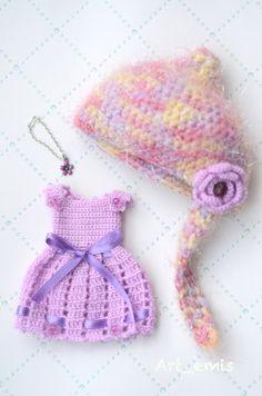 Crochet set for Blythe doll   purple by ByArtemis on Etsy, $35.00