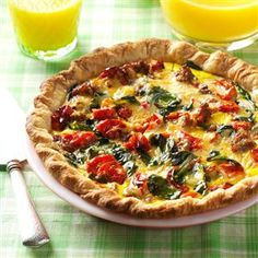 Roasted Tomato Quiche recipe ~ Used premade pie crust and less than c. Tastes great with added sauteed mushrooms. Quiche Recipes, Brunch Recipes, Breakfast Recipes, Breakfast Ideas, Breakfast Casserole, Egg Recipes, Breakfast Basket, Brunch Menu, Breakfast Time