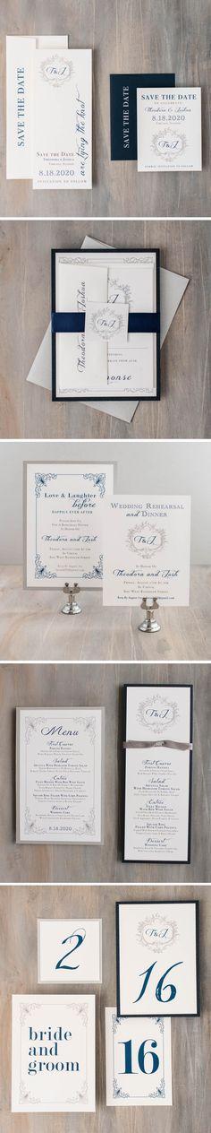 Elegant Navy Wedding Invitations | Customizable | Beacon Lane | Explore more at www.beaconln.com.
