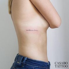 "Stick and poke ""endless love"" tattoo by Tyler Casabó. Rib Quote Tattoos, Tattoo Fonts, Word Tattoos, Rib Cage Tattoos, Mini Tattoos, Body Art Tattoos, Back Tattoo Quotes, Tatoos, Small Words Tattoo"