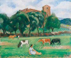 Joaquim Sunyer i de Miró. Paisaje del Montseny (Seva), 1945. Óleo sobre lienzo, 50 x 61 cm. Colección Carmen Thyssen-Bornemisza
