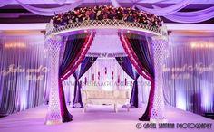 Signature Grand Davie, Suhaag Garden, Florida Indian Wedding Decorator, Decoration Vendors, Mandap, Arabic Wedding, Purple and White, Ceiling Drapes