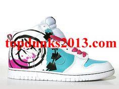 sale retailer 87667 89370 Blink 182 Smiley Face Logo 5 Arrows Blue Pink High Top Nike Dunk Sale  Online Cheap
