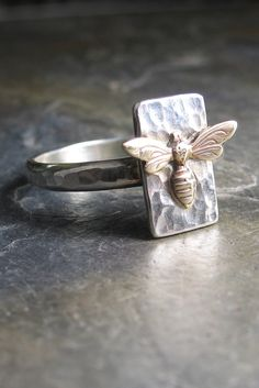 Sweet little bee with wings up and ready to buzz to the next flower - new today!
