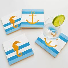 Seafaring Drink Coasters -- Add a nautical note to your summer entertaining.  #decoartprojects