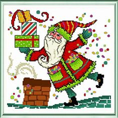 Whimsical Santa on Rooftop - cross stitch pattern designed by Ursula Michael. Category: Santa.