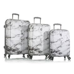 "Heys Bianco ""White Marble"" 3 Piece Fashion Spinner Luggage Set Expandable NEW"