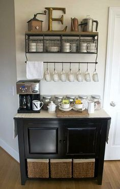 DIY Home Coffee Bar Inspiration. Thinking this would be great for my associates at Lowes when we revamp the break room!
