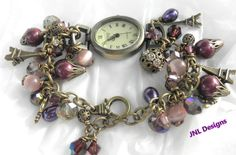 "The Many Shades of"" Purple"" Handmade Watch and Charm Bracelet on Etsy, $35.00"
