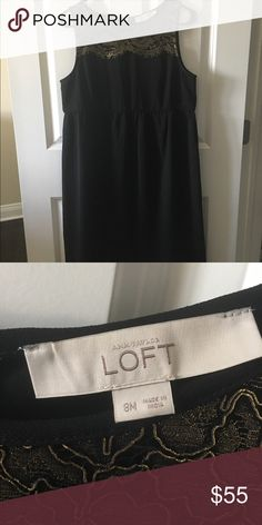 Ann Taylor Loft Black & Gold Maternity Dress Dress to impress! Used only once for a Gala event but can also be used for a wedding or a night out with the hubby. Dress it up or down...choice is yours! Beautiful detail. Ann Taylor Dresses Wedding