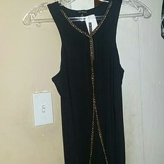 Black dress with gold chain Up to knee brand new Dresses