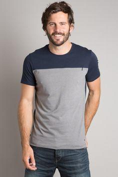 T-shirt homme coupe droite bicolore