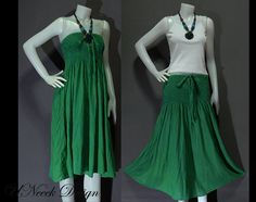 Green Cotton Dress or Long Skirt Boho by HippieGypsyBohemian, $30.00