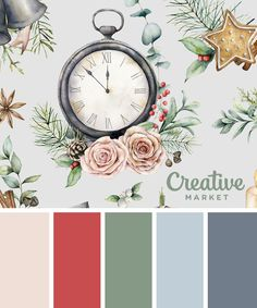 Christmas Color Palettes: 8 Designers Share their Go-to Hues (Creative Market) Colour Pallette, Color Combos, Christmas Palette, Christmas Colors Palette, Christmas Mood, Christmas 2019, Gouache, Xmas Colors, Collor