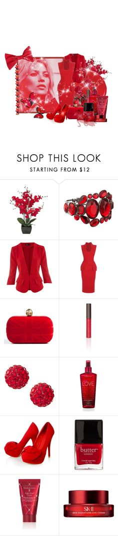 """red"" by lifestyle-ala-grace ❤ liked on Polyvore featuring PLANT, MOOD, Cutie, Alexander McQueen, Becca Cosmetics, Johnny Loves Rosie, Victoria's Secret, Carvela Kurt Geiger, Butter London and Elizabeth Arden"