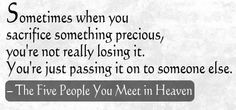 the five people you meet in heaven quotes and pages