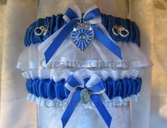 Handcrafted Police Garter set with a beautiful Police badge charm and hand cuffs on each side of the badge