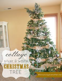 Blissfully Ever After | White+and+Silver+Christmas+Tree | Cottage Christmas | www.blissfullyeverafter.net