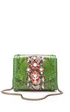 Shourouk Daktari Crystalembellished Python Bag in Green   Lyst
