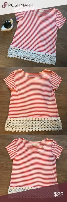 "Maison Jules Fall Striped Tee Shirt Top SZ Small Fantastic for fall.  This tee is from Maison Jules.  Made of 97% rayon and 3% spandex.  Size Small. Flat lay measurement: 15"" bustline, 15"" length (4"" crochet hem). Orange + cream stripes.  Round neckline. Brand new without tags.  Easy to dress up or down. I bought this at Nordstroms and never wore it.  It's time for a new home. Maison Jules Tops Tees - Short Sleeve"